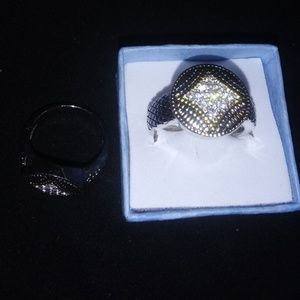 Jewelry - Silver with gold accent micropave circular ring